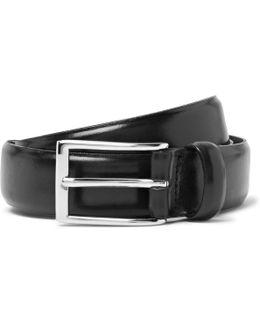 3cm Black Glossed-leather Belt