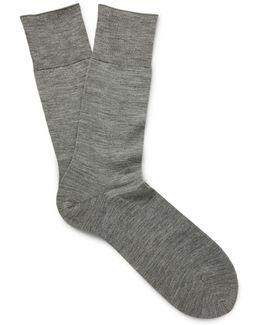 Mélange Merino Wool-blend Socks