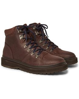Shearling-lined Distressed Nubuck Boots