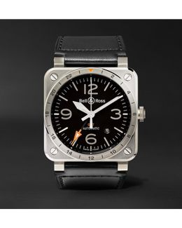 Br 03-93 Gmt 42mm Steel And Leather Watch