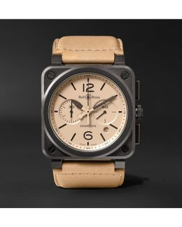 Br 03-94 Desert Type 42mm Ceramic And Leather Chronograph Watch