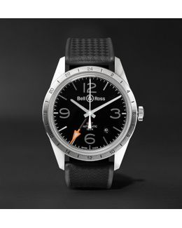 Br 123 42mm Steel And Rubber Watch