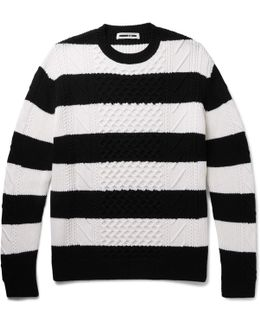 Oversized Striped Cable-knit Wool Sweater