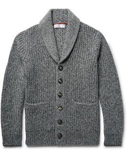 Shawl-collar Ribbed Mélange Cashmere Cardigan