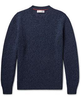 Ribbed Mélange Virgin Wool, Cashmere And Silk-blend Sweater
