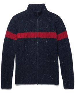 Striped Cable-knit Donegal Wool And Cashmere-blend Zip-up Cardigan
