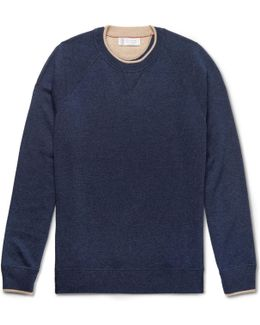 Contrast-tipped Mélange Cashmere Sweater