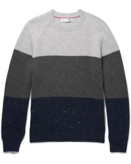 Slim-fit Ribbed Colour-block Wool, Cashmere And Silk-blend Sweater