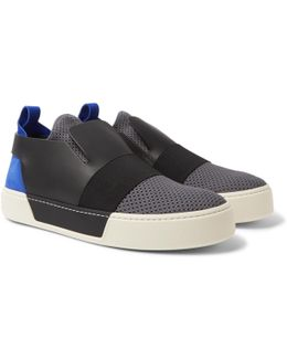 Leather, Suede And Mesh Slip-on Sneakers