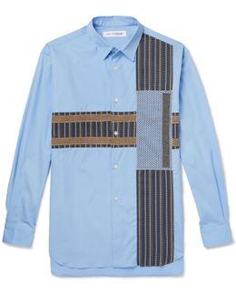 Patchwork Cotton-poplin, Jacquard And Jersey Shirt
