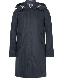 Waxed Cotton-blend Gabardine Hooded Raincoat