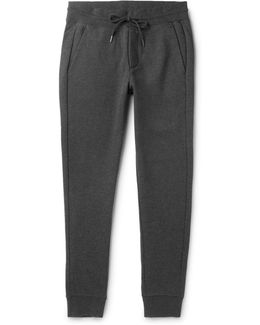Slim-fit Tapered Mélange Fleece-back Cotton-jersey Sweatpants