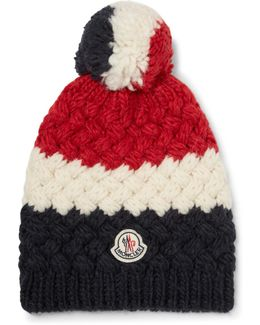 Colour-block Knitted Bobble Hat