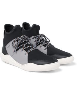 Neoprene And Leather High-top Sneakers