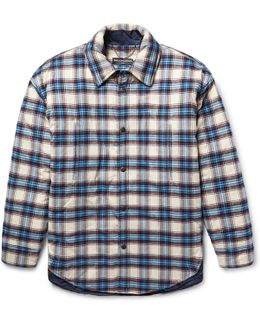 Oversized Padded Checked Cotton-flannel Overshirt
