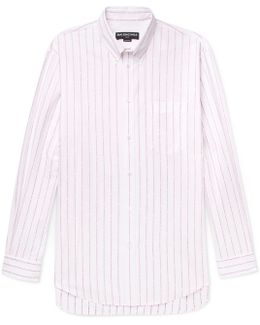 Oversized Button-down Collar Cotton-jacquard Shirt