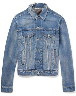 Trucker Slim-fit Embroidered Distressed Denim Jacket