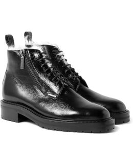 William Shearling-lined Textured-leather Boots