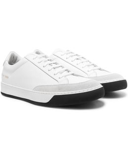 Tennis Pro Suede-trimmed Leather Sneakers