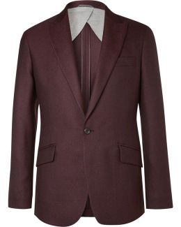 Burgundy Duke Basketweave Wool Blazer