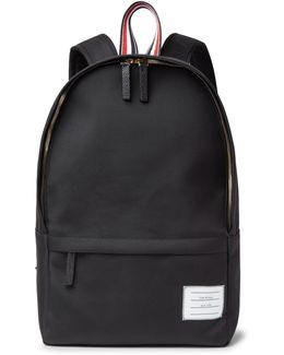Pebble-grain Leather-trimmed Nylon Backpack