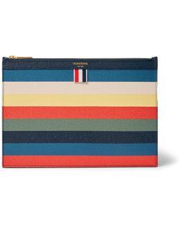 Striped Pebble-grain Leather Pouch
