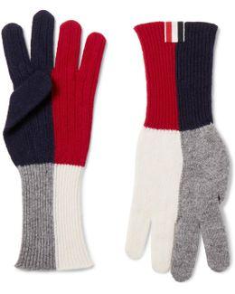 Colour-block Merino Wool Gloves