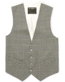 Black Clarence Prince Of Wales Checked Wool Waistcoat
