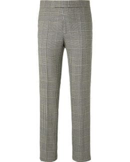 Black Prince Of Wales Checked Wool Suit Trousers