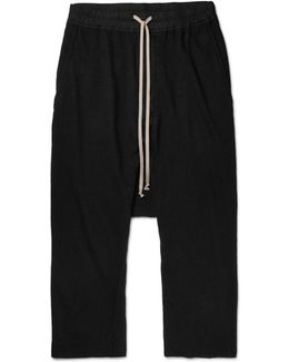 Drkshdw Cropped Cotton-jersey Drawstring Trousers