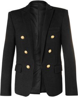 Black Double-breasted Wool-jersey Blazer