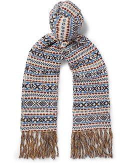Fair Isle Wool, Mohair And Silk-blend Scarf