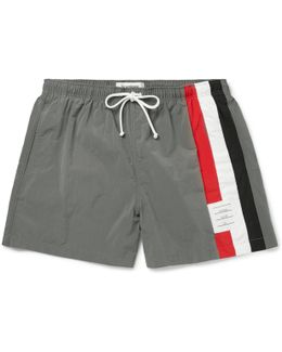 Slim-fit Short-length Stripe-trimmed Swim Shorts