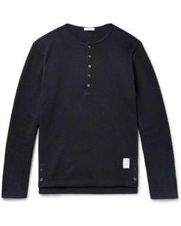 Honeycomb-knit Cotton Henley T-shirt