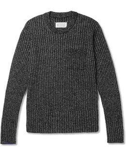 Slim-fit Contrast-tipped Ribbed Wool-blend Sweater