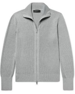 Harrison Ribbed-knit Zip-up Cardigan