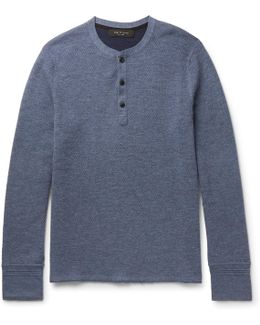 Gregory Honeycomb-knit Stretch Wool-blend Henley T-shirt