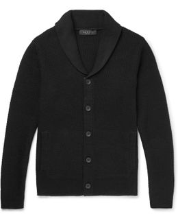 Cardiff Shawl-collar Textured-knit Wool And Cotton-blend Cardigan