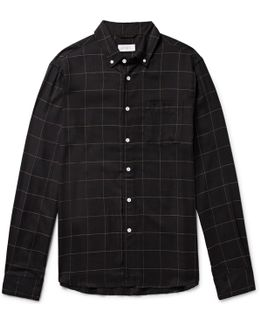 Crosby Button-down Collar Checked Tencel, Cotton And Wool-blend Shirt
