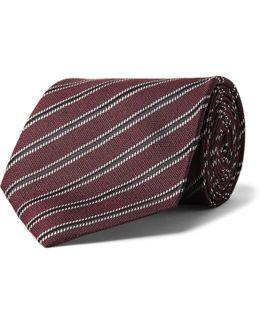 8cm Striped Woven Silk Tie