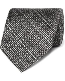 8cm Checked Woven Silk Tie