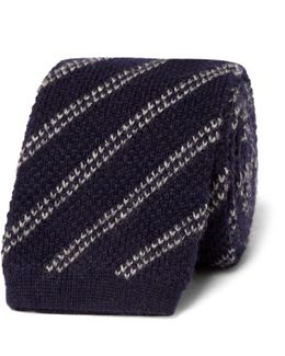 7.5cm Striped Knitted Cashmere Tie