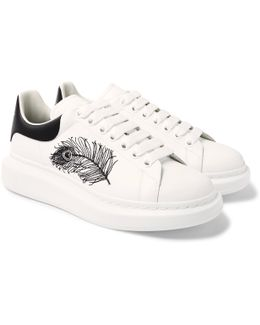 Larry Embroidered Exaggerated-sole Leather Sneakers