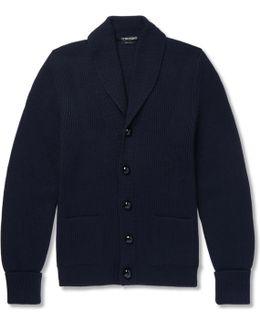 Shawl-collar Ribbed Wool Cardigan