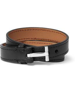 Leather Silver-tone Wrap Bracelet