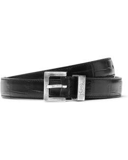 2cm Black Croc-effect Leather Belt