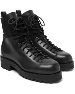Military Suede-panelled Leather Boots