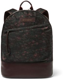 Kastrup Leather-trimmed Printed Nylon Backpack