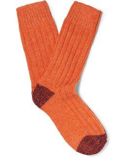 Ribbed Stretch Merino Wool-blend Socks