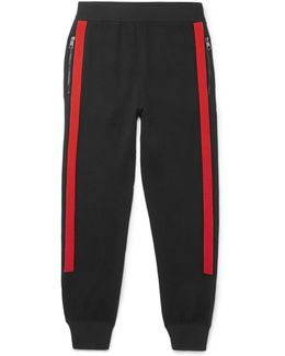 Slim-fit Tapered Contrast-trimmed Wool Sweatpants